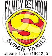 Clipart Of A Red Yellow And Black Family Reunion Super Family S Shield Design Royalty Free Vector Illustration