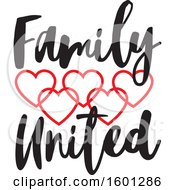 Clipart Of A Family United Design With Connected Red Hearts Royalty Free Vector Illustration