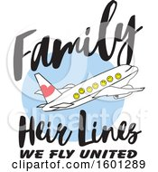 Clipart Of A Cartoon Airplane With Happy Facesand Family Heir Lines We Fly United Text Royalty Free Vector Illustration