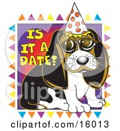 Cute Beagle Puppy Wearing A Party Hat Clipart Illustration