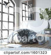 Clipart Of A 3d Bean Bag Chair And Bonsai In A Living Room Royalty Free Illustration
