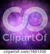 Clipart Of A Purple Geometric And Bokeh Flare Background Royalty Free Vector Illustration