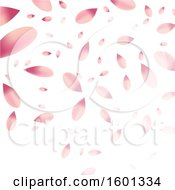 Poster, Art Print Of Background Of Falling Pink Flower Petals On White