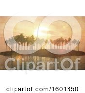 Clipart Of A 3d Silhouetted Tropical Island With Palm Trees At Sunset Royalty Free Illustration