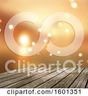 Clipart Of A 3d Wood Surface Against Orange Flares Royalty Free Illustration