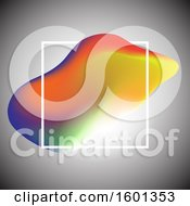 Clipart Of A Colorful Fluid Wave And White Frame On Gray Royalty Free Vector Illustration