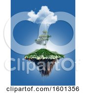 3D Render Of A Floating Tree Island Under A Cloud