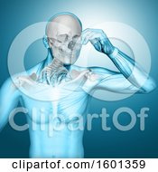 Clipart Of A 3d Anatomical Man With Visible Skull And Neck Bones On Blue Royalty Free Illustration