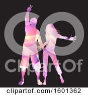 Geometric Silhouetted Woman And Man Dancing On Black