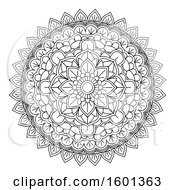 Clipart Of A Black And White Mandala Royalty Free Vector Illustration