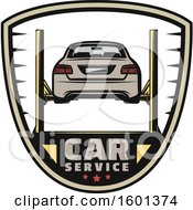 Clipart Of A Car Lift Shield Design Royalty Free Vector Illustration