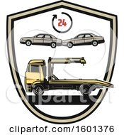 Clipart Of A Car Towing Shield Design Royalty Free Vector Illustration