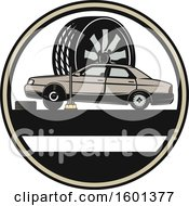 Clipart Of A Car And Tire Repair Design Royalty Free Vector Illustration by Vector Tradition SM
