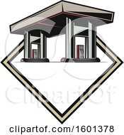Clipart Of A Gas Station Design Royalty Free Vector Illustration