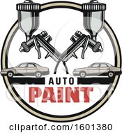 Clipart Of A Black And White Auto Paint Design Royalty Free Vector Illustration