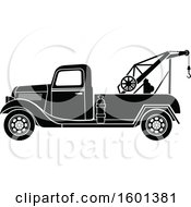 Clipart Of A Black And White Vintage Tow Truck Royalty Free Vector Illustration