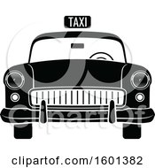Clipart Of A Black And White Vintage Taxi Cab Royalty Free Vector Illustration