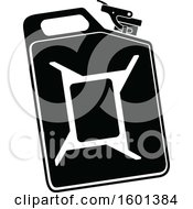 Clipart Of A Black And White Gas Can Royalty Free Vector Illustration