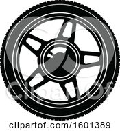 Clipart Of A Black And White Tire Royalty Free Vector Illustration by Vector Tradition SM