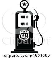 Clipart Of A Black And White Gas Pump Royalty Free Vector Illustration