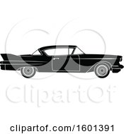 Clipart Of A Black And White Vintage Car Royalty Free Vector Illustration