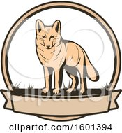 Clipart Of A Hunting Shield Design With A Coyote Royalty Free Vector Illustration by Vector Tradition SM