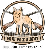 Clipart Of A Hunting Shield Design With A Coyote Royalty Free Vector Illustration