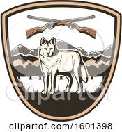 Clipart Of A Hunting Shield Design With A Wolf Royalty Free Vector Illustration