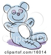 Cute Blue Stuffed Teddy Bear Clipart Illustration by Andy Nortnik