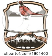 Clipart Of A Hunting Shield Design With A Pheasant Royalty Free Vector Illustration