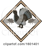 Clipart Of A Hunting Shield Design With A Wood Grouse Royalty Free Vector Illustration