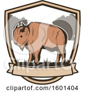 Clipart Of A Hunting Shield Design With A Bison Royalty Free Vector Illustration by Vector Tradition SM
