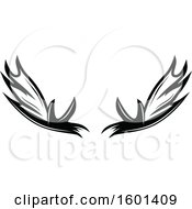 Clipart Of Black And White Antlers Royalty Free Vector Illustration