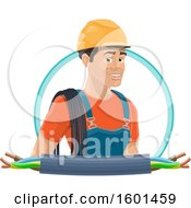 Clipart Of A Male Electrican With Wires Royalty Free Vector Illustration