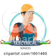 Clipart Of A Male Electrican With Wires And Text Royalty Free Vector Illustration