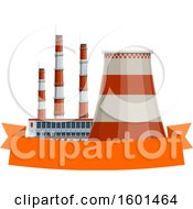 Clipart Of A Thermal Power Station And Banner Royalty Free Vector Illustration