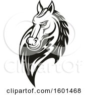 Clipart Of A Black And White Tough Stallion Horse Royalty Free Vector Illustration