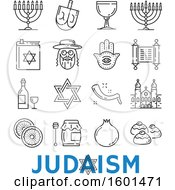 Clipart Of Black And White Judaism Icons Royalty Free Vector Illustration