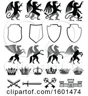 Black And White Heraldic Griffin Pegasus Shield Crown Sword Key And Castle Design Elements