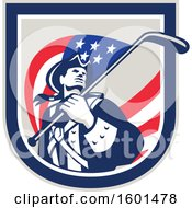 Clipart Of A Retro American Revolutionary Soldier Patriot Minuteman With A Hockey Stick Flag In A Crest Royalty Free Vector Illustration