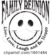 Poster, Art Print Of Black And White Family Reunion Happy Face With Live Love Laugh And Be Happy Text