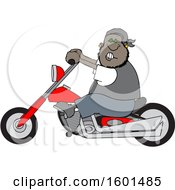 Cartoon Black Male Biker Riding A Motorcycle