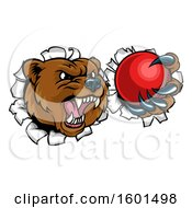 Bear Sports Mascot Breaking Through A Wall With A Cricket Ball In A Paw