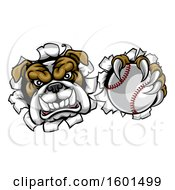 Clipart Of A Tough Bulldog Monster Sports Mascot Holding Out A Baseball In One Clawed Paw And Breaking Through A Wall Royalty Free Vector Illustration