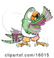 Happy Green And Purple Parrot Dancing