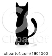 Silhouetted Cat With A Reflection Or Shadow On A White Background