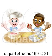 Poster, Art Print Of Happy White And Black Boys Making Frosting And Cookies