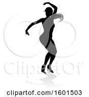 Silhouetted Female Dancer In Heels With A Shadow On A White Background