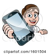 Happy White Male Scientist Holding A Cell Phone Over A Sign