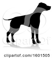 Clipart Of A Silhouetted Dog With A Reflection Or Shadow On A White Background Royalty Free Vector Illustration